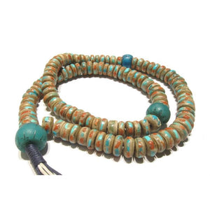 Turquoise and Coral Inlaid 13mm Yak Bone Mala with 18th Century Chinese Trade Beads