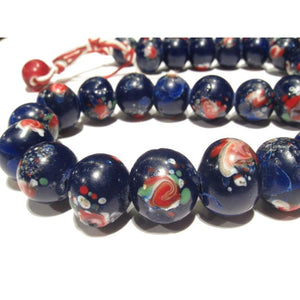 19th Century Venetian Blue Rose Floral Bead Strand