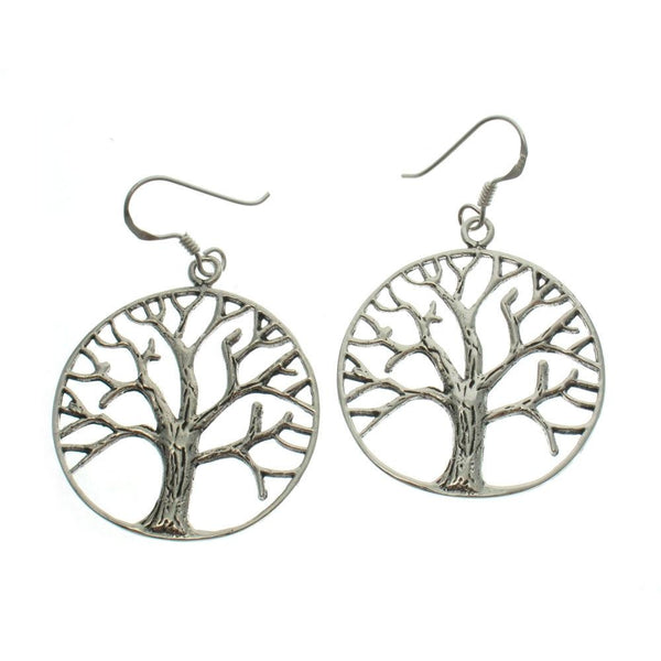 Tree of Life Circle Sterling Silver Earrings