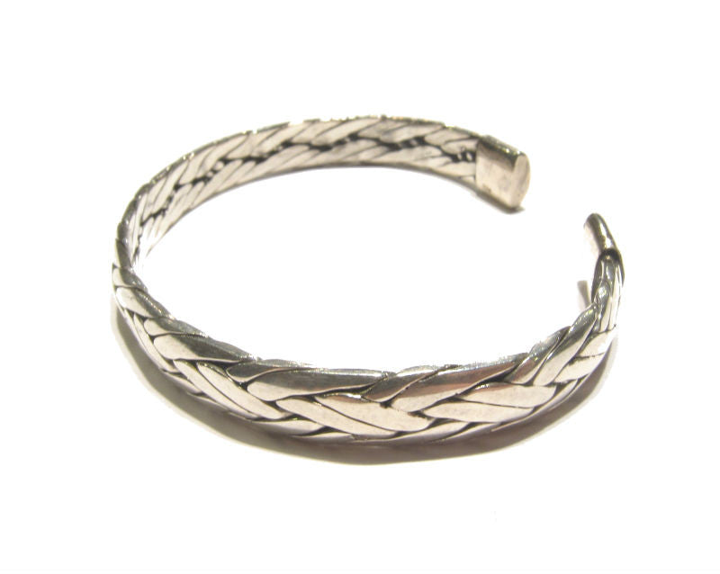 Hammered Braid Flat Sterling Silver Cuff Bracelet