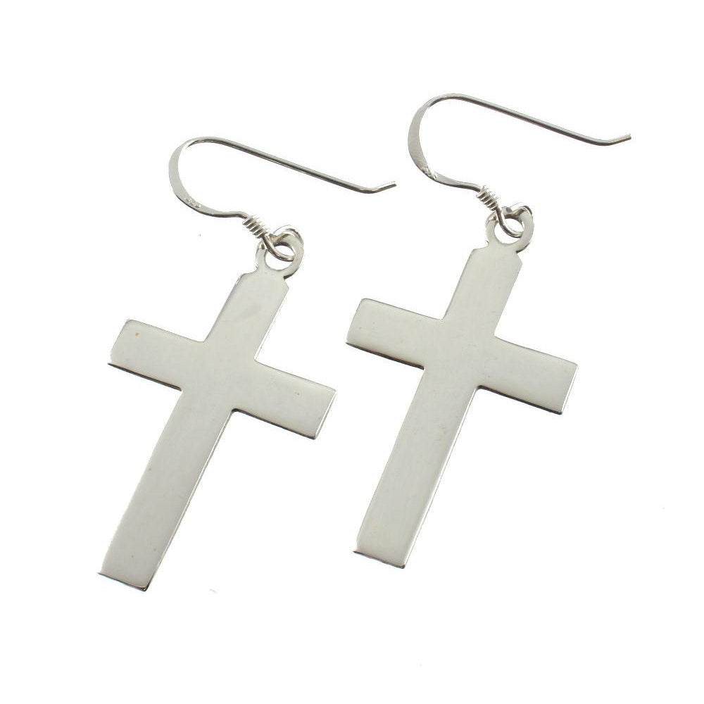 Sterling Silver Plain Cross Earrings