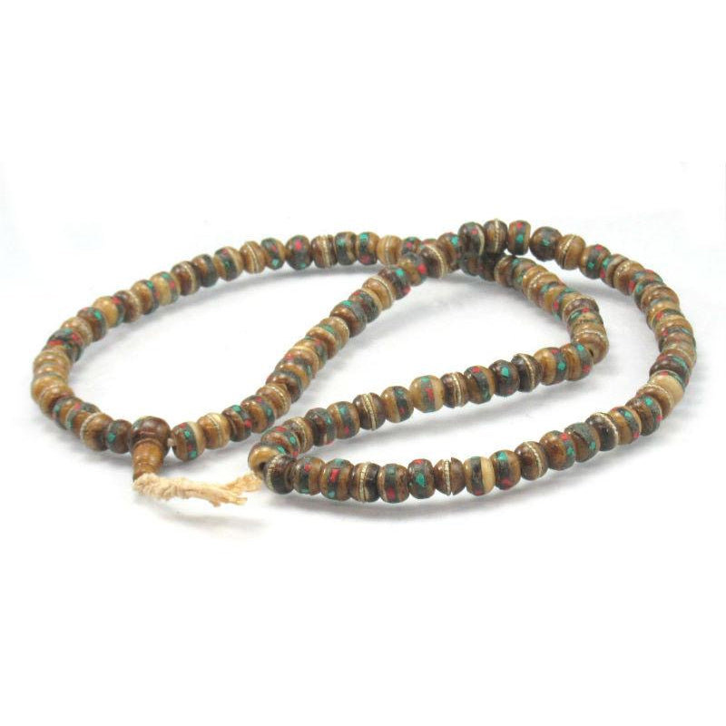 Inlaid Yak Bone Mala 8mm
