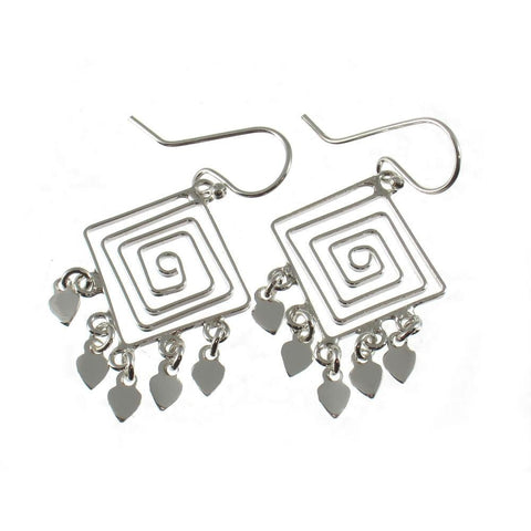 Sterling Silver Square Spiral Earrings