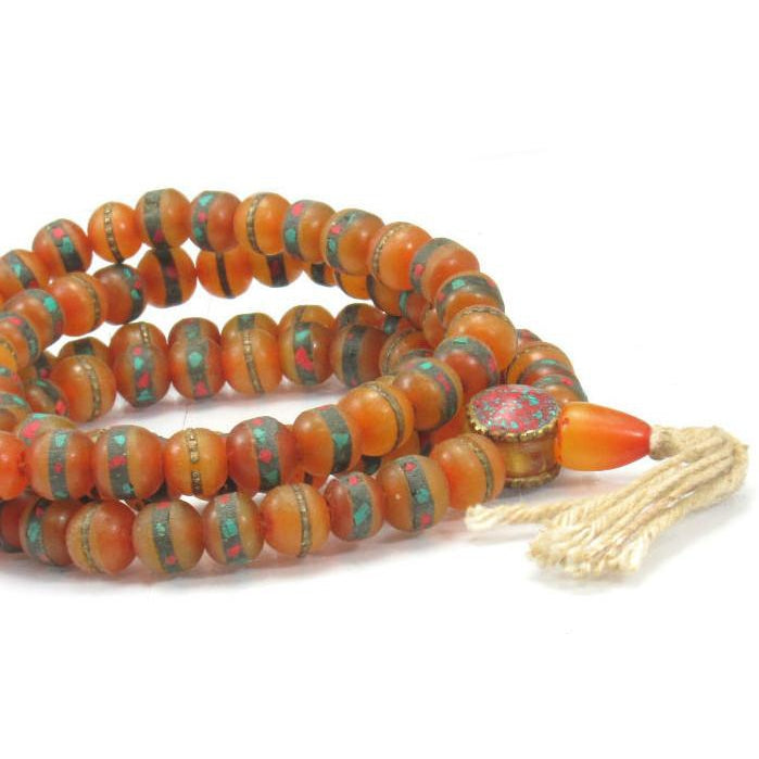 Inlaid Amber Resin Mala 9mm