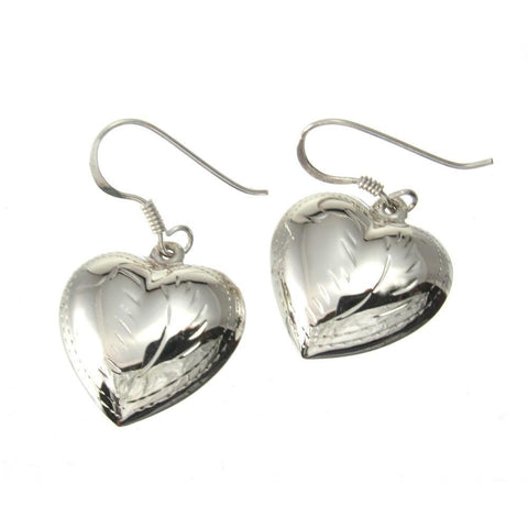 Sterling Silver Etched Heart Earrings