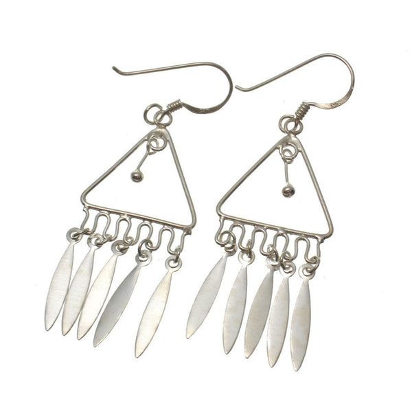Sterling Silver Triangle Chandelier Earrings