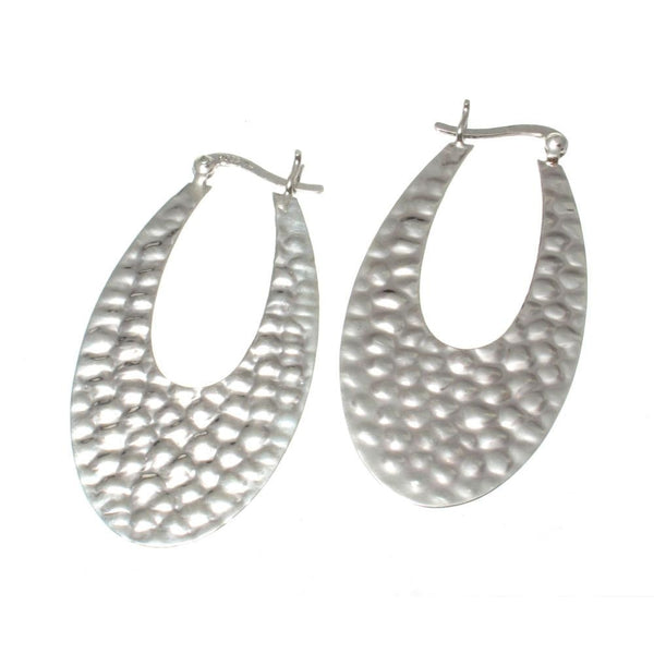 Hand Hammered Flat Oval Sterling Silver Hoop Earrings