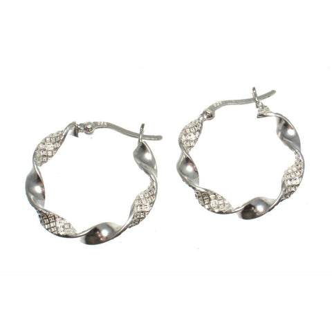 Sterling Silver Twisted 22mm Hoop Earrings
