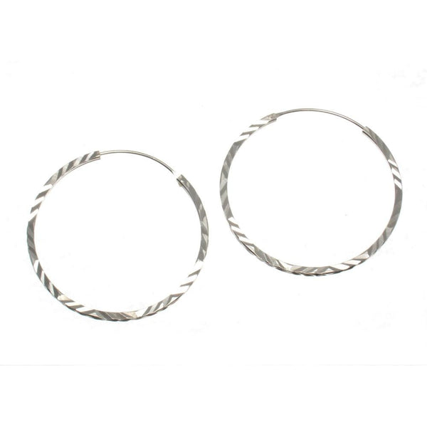 Hand Etched 35mm Sterling Silver Hoop Earrings