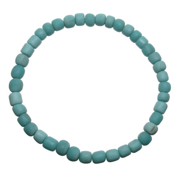 Java Turquoise Glass Bead Stretch Bracelet