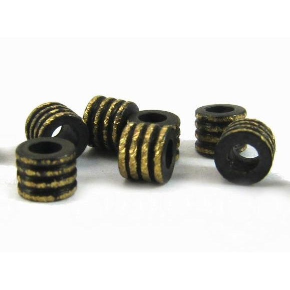 Brushed Brass Striped Barrels Bead Strand