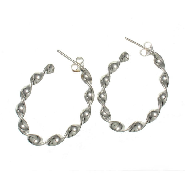 Sterling Silver Twisted Hoop with Post Earrings