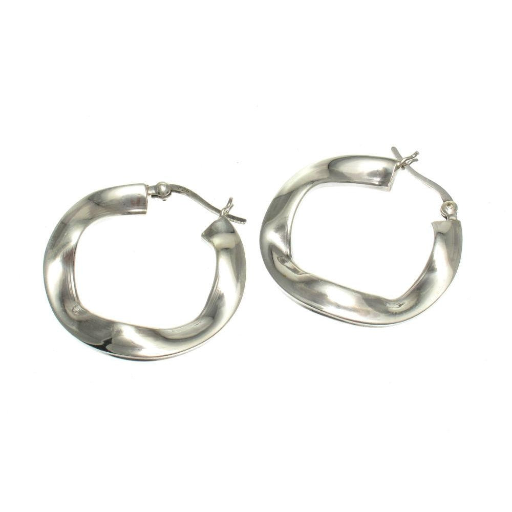 Sterling Silver Flat Ruffle 30m Hoop Earrings