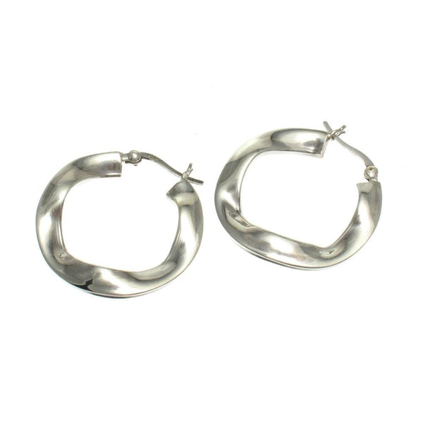 Sterling Silver Flat Ruffle 30mm Round Hoop Earrings