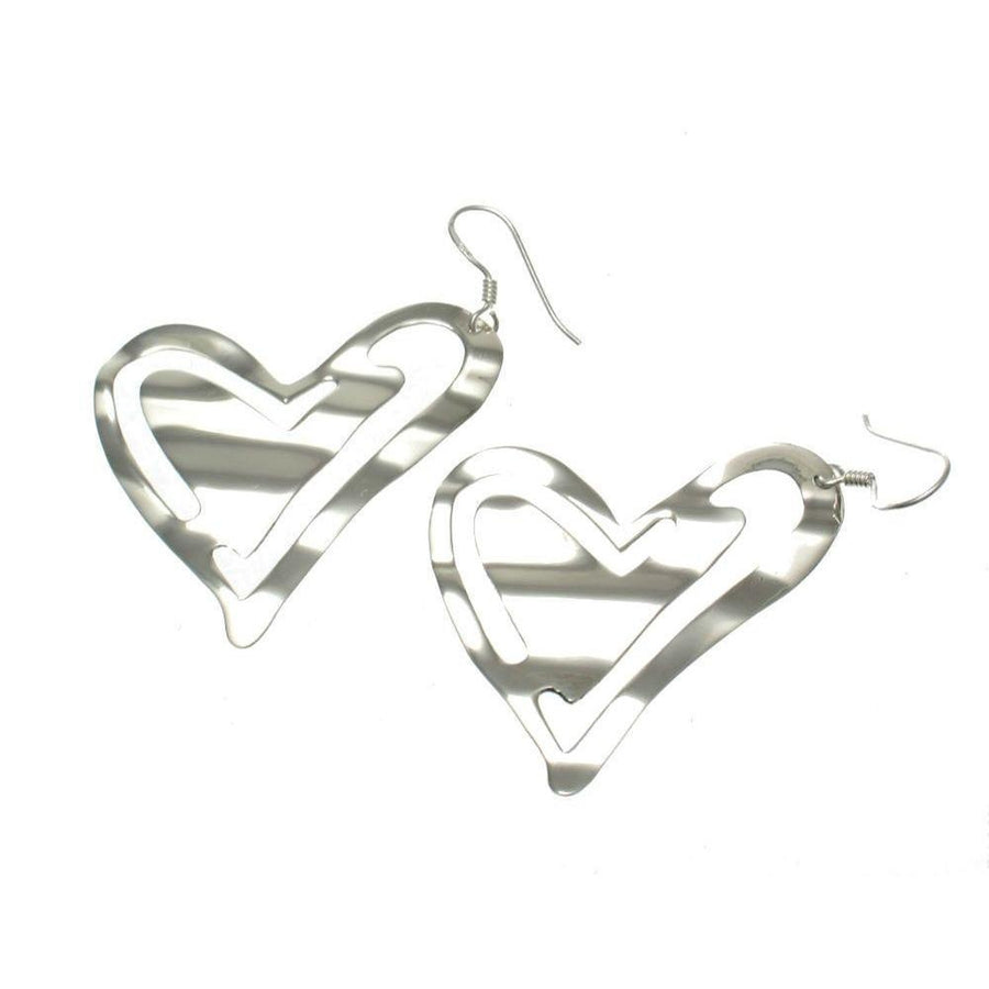 Sterling Silver Cut-Out Heart Earrings