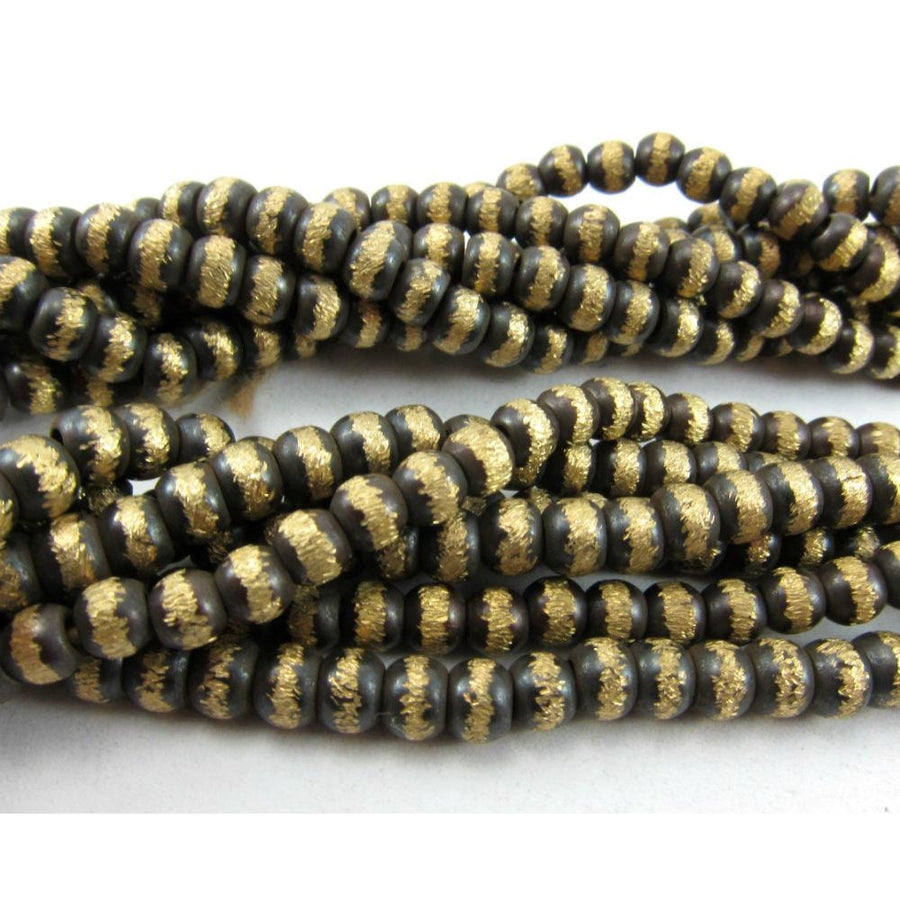 Brushed Brass Rondelles Beads Strand