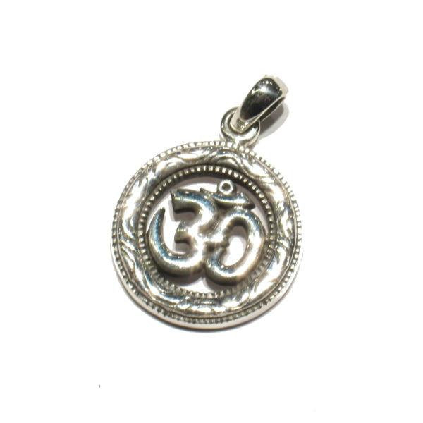 Om Circle Sterling Silver Pendant
