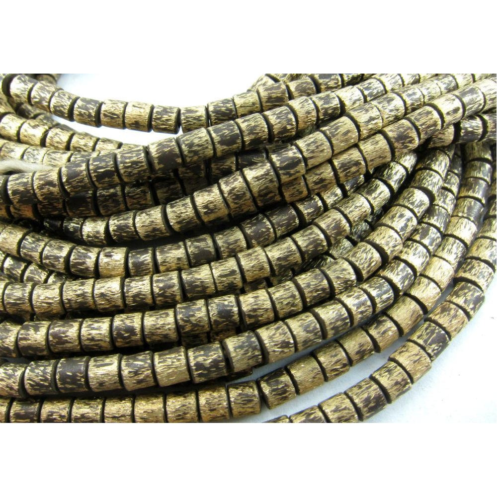 Brushed Brass Barrel Bead Strand