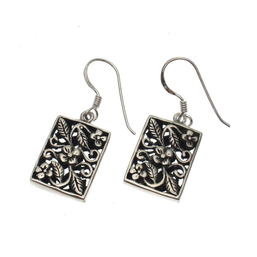 Celtic Rectangle Sterling Silver Earrings