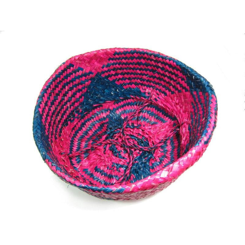 Handwoven Raffia Baskets from Vietnam, Navy and Fuchsia