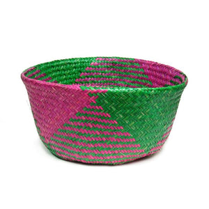 Handwoven Raffia Baskets from Vietnam, Green and Fuchsia