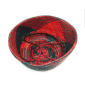 Handwoven Raffia Baskets from Vietnam, Black and Red