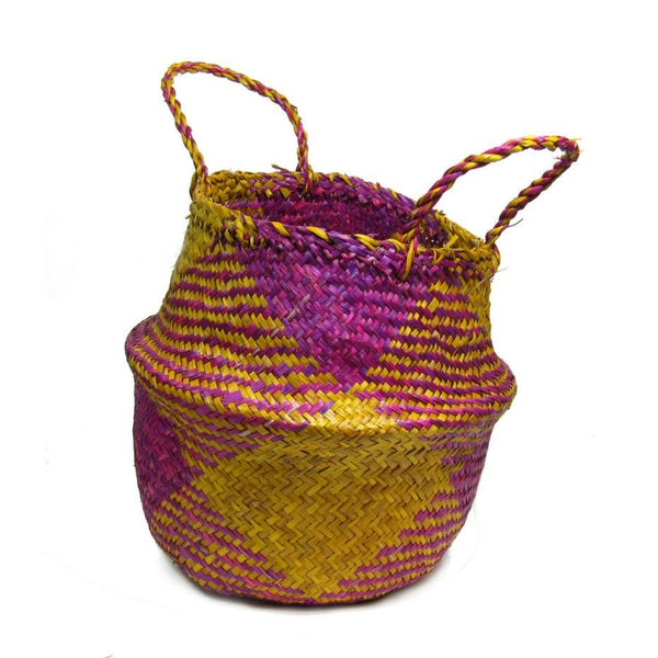 Handwoven Raffia Baskets from Vietnam, Yellow and Fuchsia