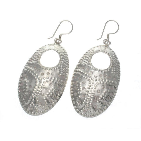 Hand Hammered Oval Sterling Silver Earrings