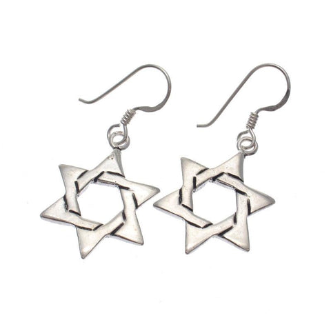 Star of David Sterling Silver Dangle Earrings