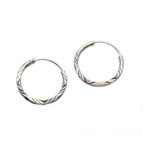 Hand Etched 11mm Sterling Silver Hoop Earrings