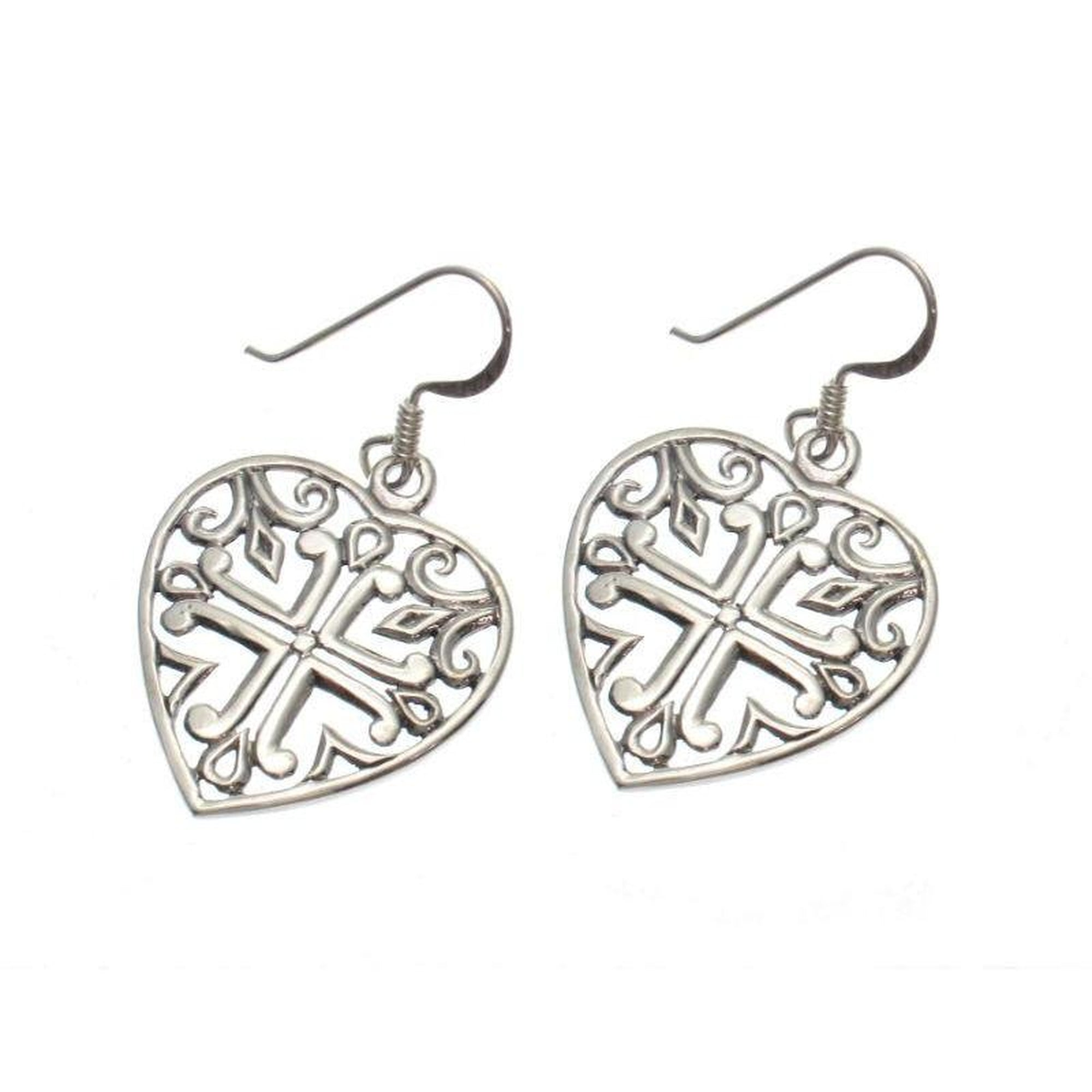 Sterling Heart with Cross Earrings