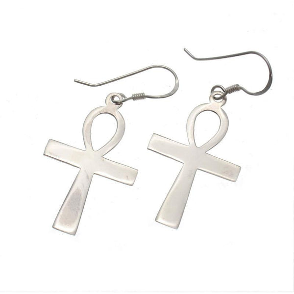 Sterling Silver Small Ankh Earrings