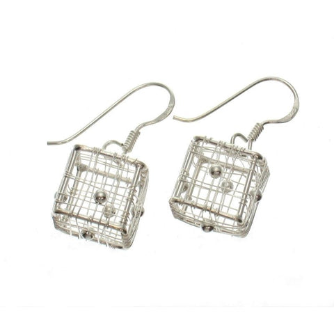 Small Wire Box Sterling Silver Earrings