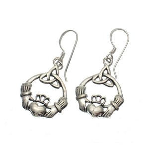Medium Claddagh Sterling Silver Earrings