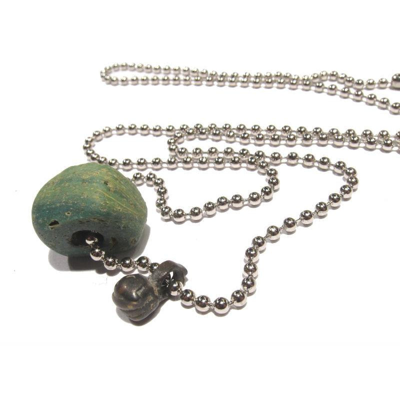 Antique Glass and Brass Bead Necklace