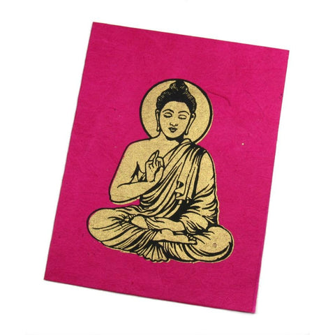 "Handmade Greeting Card from Nepal (""Be Not Fearful"" Buddha)"