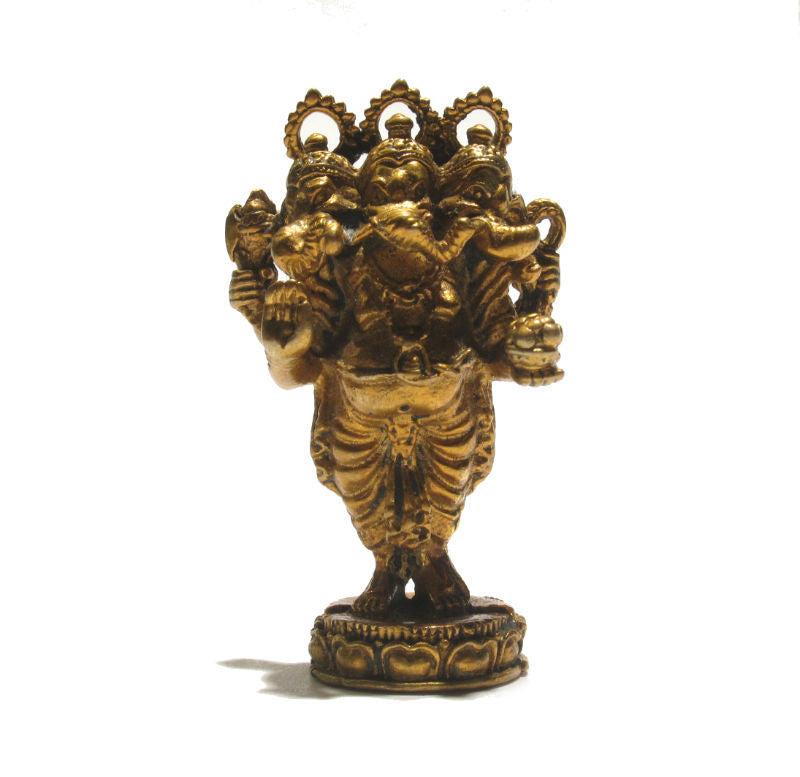 """Trimuhkti Ganapati"" Three Headed Ganesha Statue"