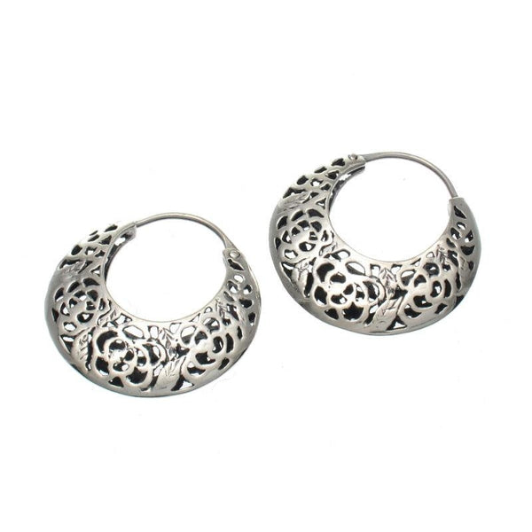 Rose Crescent Sterling Silver Earrings