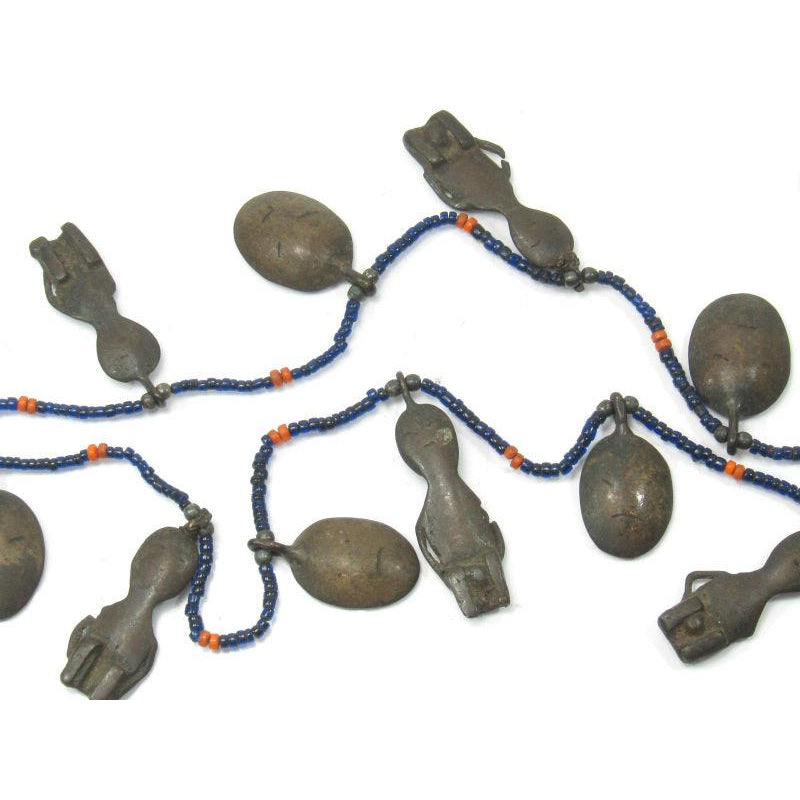 Naga Ancestor Necklace with 19th Century Bronze Heads and Figures