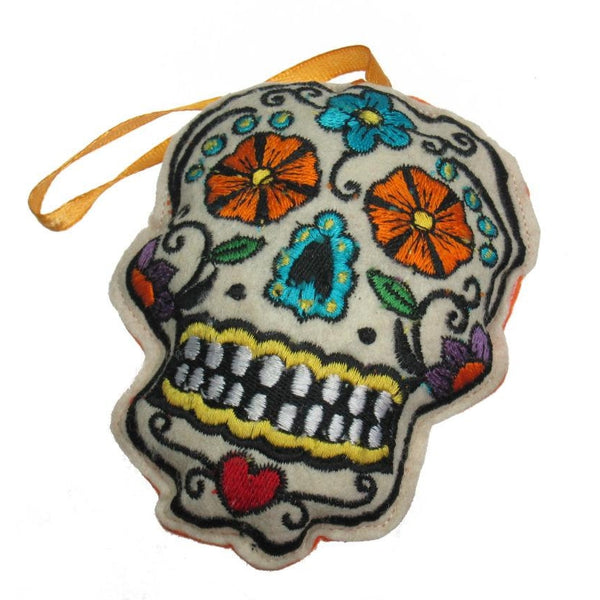 Felt Skull Ornament (Orange Strap)