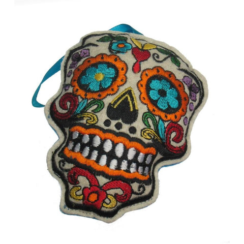 Felt Skull Ornament (Blue Strap)