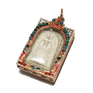Meditating Buddha Amulet in Enameled Case with Crystals