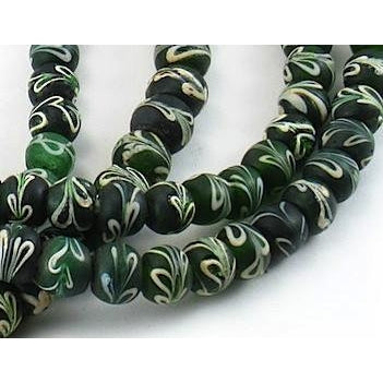 "19th Century Venetian Green ""Ribbon"" Beads from Zaire"