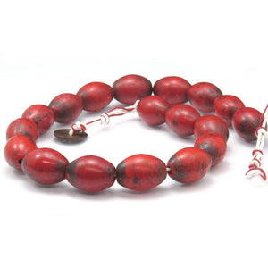 Early 20th C. Chinese Hand Wound Glass Trade Beads Red Coral Color
