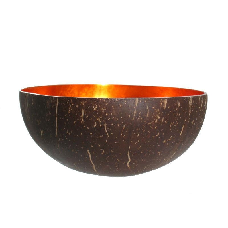 Metallic Lacquer Coconut Bowl From Vietnam, Orange