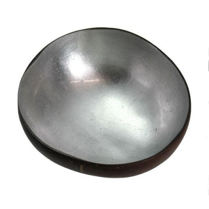 Metallic Lacquer Coconut Bowl from Vietnam, Silver