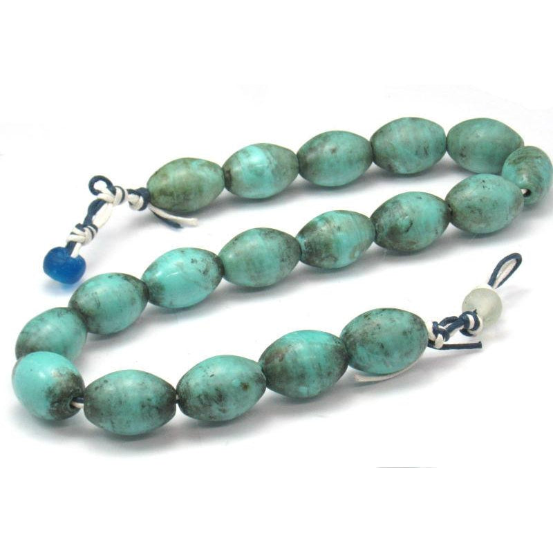 Early 20th C. Chinese Hand Wound Glass Trade Beads Turquoise Color 1