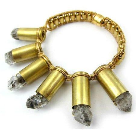 Herkimer Diamond and Brass Bullet Casing Bracelet with Gold Plated Magnetic Clasp