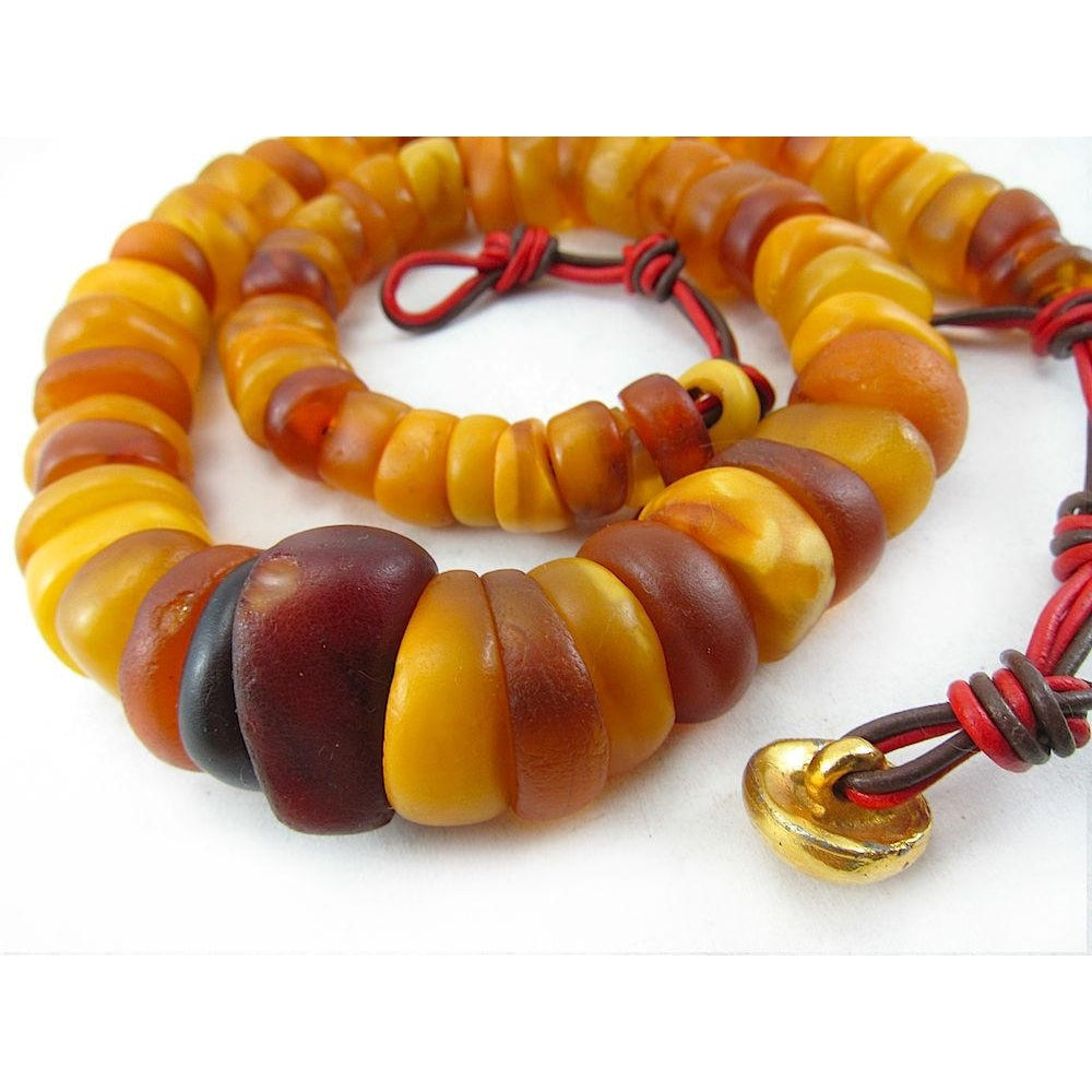 Fulani Authentic Amber Dowry Beads Necklace
