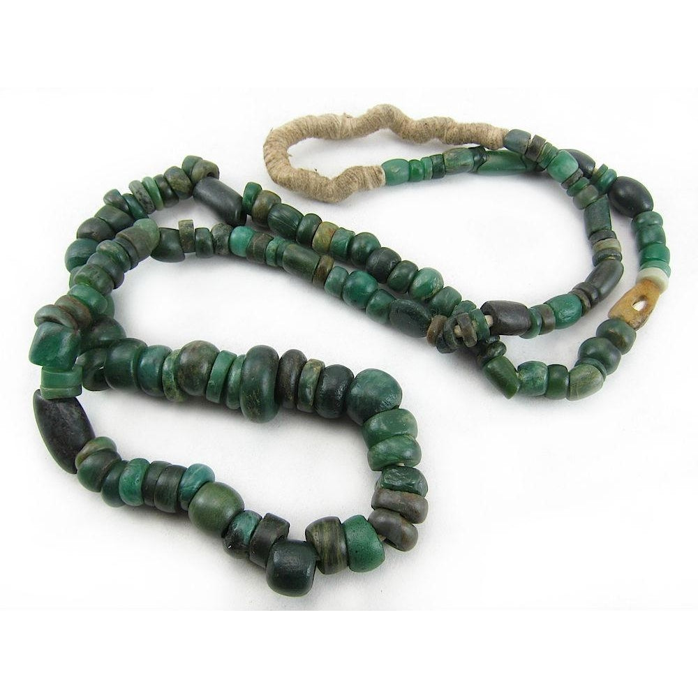 12th-16th Century Forest Green Serpentine Necklace 5 ...  12th-16th Centu...